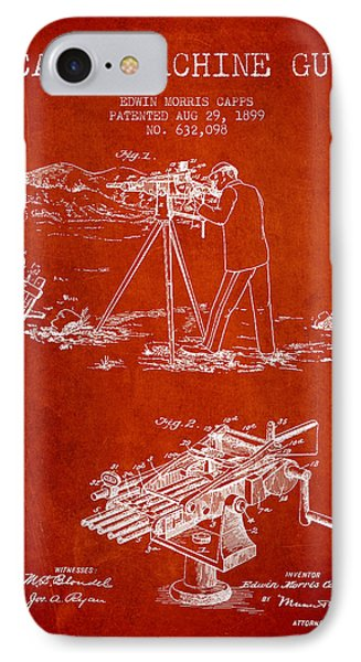 Capps Machine Gun Patent Drawing From 1899 - Red Phone Case by Aged Pixel