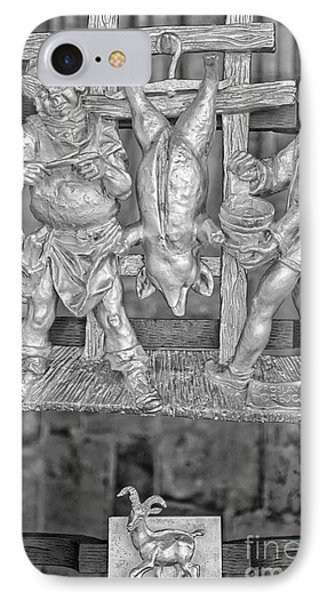 Capricorn Zodiac Sign - St Vitus Cathedral - Prague - Black And White IPhone Case by Ian Monk