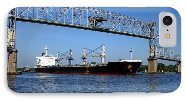 Cargo Ship Under Bridge IPhone Case by Olivier Le Queinec
