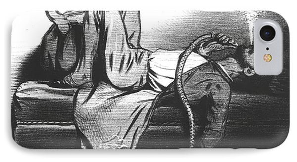 Caricature Of The Romantic Writer Searching His Inspiration In The Hashish IPhone Case by French School