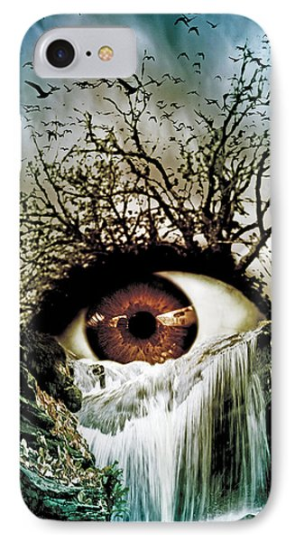 Cascade Crying Eye IPhone Case by Marian Voicu