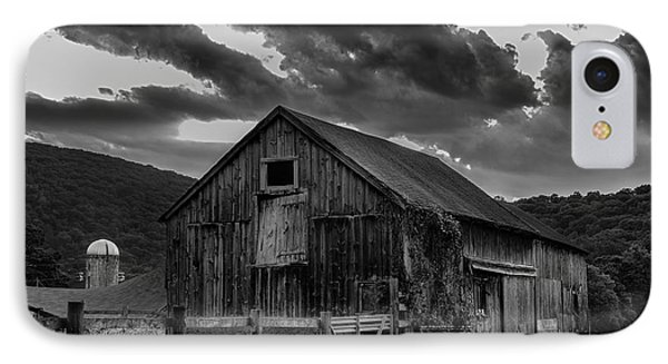 Casey's Barn-black And White  IPhone Case by Thomas Schoeller