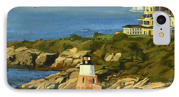 Castle Hill Light And Inn Newport Rhode Island IPhone Case by Christine Hopkins