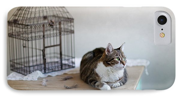 Cat And Bird Cage IPhone Case by Nailia Schwarz