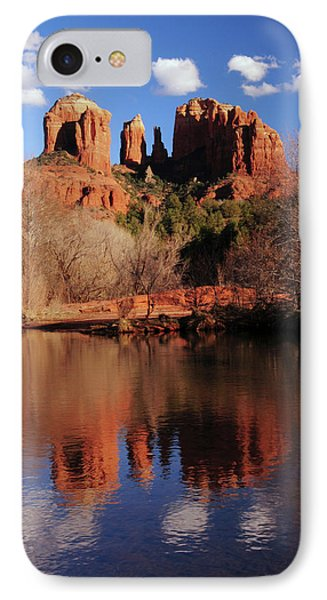 Cathedral Rock And Reflections At Sunset IPhone Case by Michel Hersen