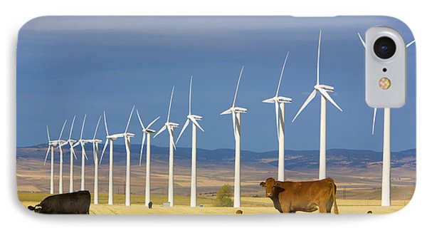 Cattle And Windmills Alberta Canada IPhone Case by