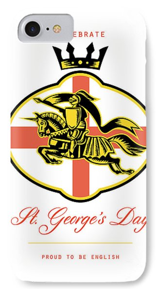 Celebrate St. George Day Proud To Be English Retro Poster Phone Case by Aloysius Patrimonio