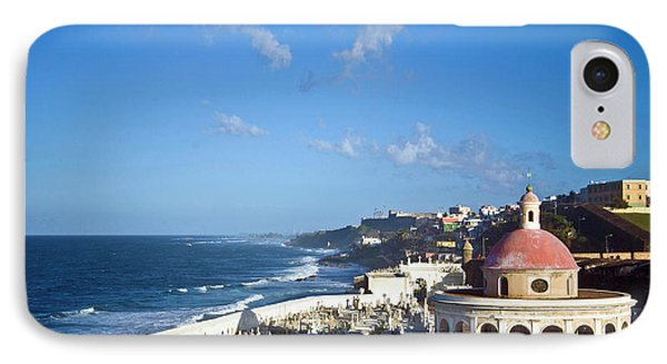 Cemetery And La Perla From El Morro IPhone Case by Miva Stock