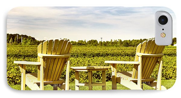 Chairs Overlooking Vineyard IPhone Case by Elena Elisseeva