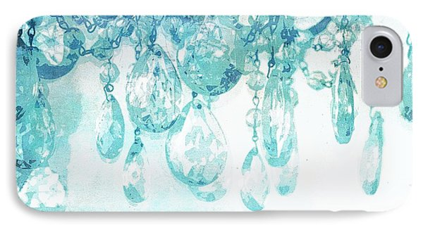 Chandelier Crystals In Aqua Phone Case by Suzanne Powers