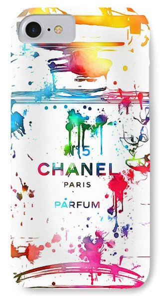 Chanel Number Five Paint Splatter IPhone Case by Dan Sproul