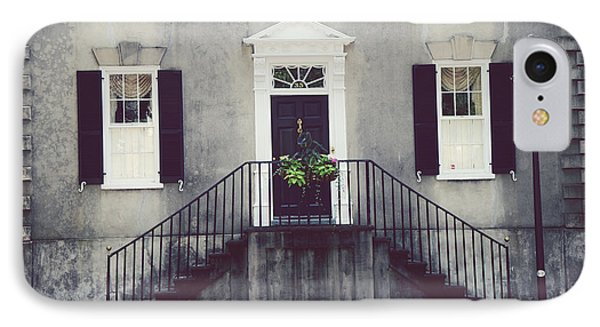 Charleston French Quarter Historial District Mansion - Charleston Black Grey White House And Lantern IPhone Case by Kathy Fornal