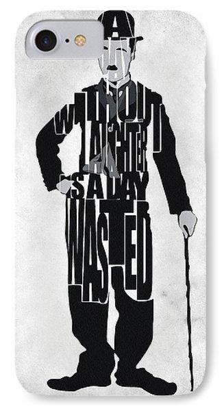 Charlie Chaplin Typography Poster IPhone Case by Ayse Deniz