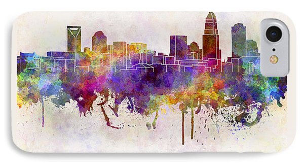 Charlotte Skyline In Watercolor Background IPhone Case by Pablo Romero