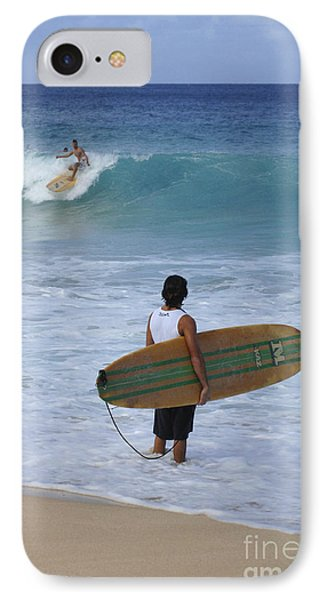 Surfing Hawaii Checking It Out IPhone Case by Bob Christopher