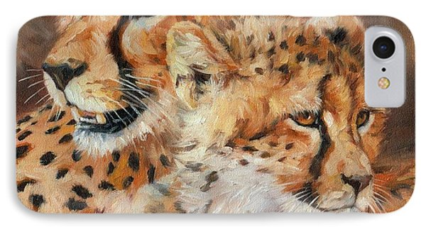 Cheetah And Cub IPhone 7 Case by David Stribbling