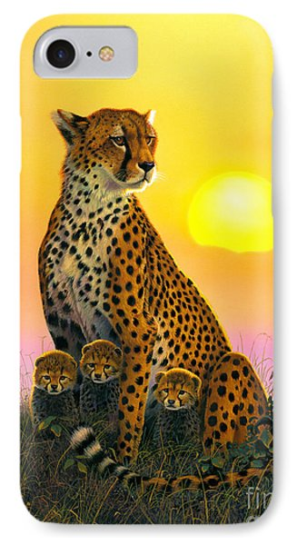 Cheetah And Cubs IPhone 7 Case by MGL Studio - Chris Hiett