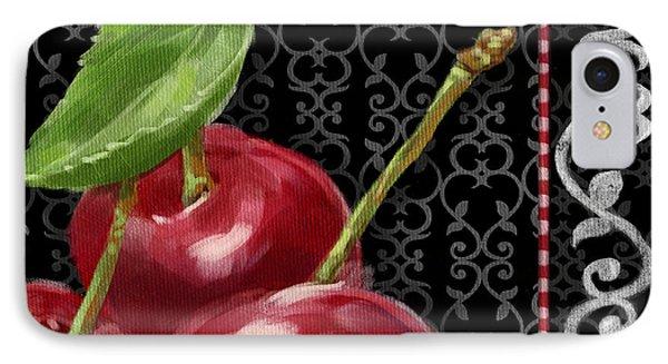 Cherry On Black And White Phone Case by Shari Warren
