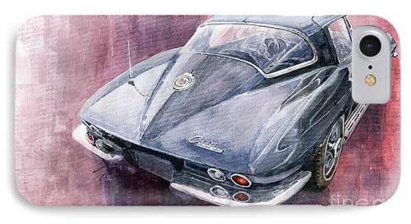 Chevrolet Corvette Sting Ray 1965 IPhone Case by Yuriy  Shevchuk