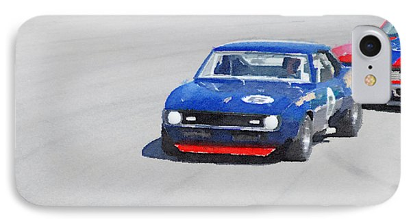 Chevy Camaro On Race Track Watercolor IPhone Case by Naxart Studio