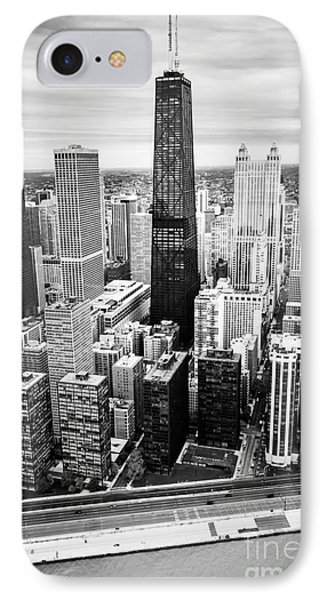Chicago Aerial With Hancock Building In Black And White IPhone Case by Paul Velgos