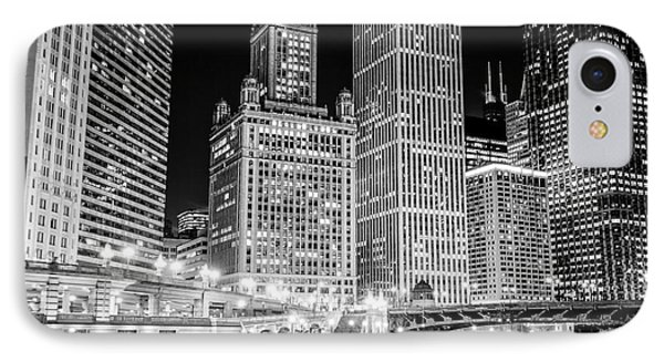 Chicago Downtown At Night Black And White Picture IPhone Case by Paul Velgos