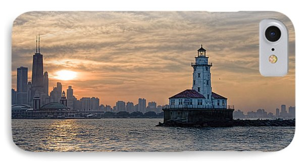 Chicago Lighthouse And Skyline Phone Case by John Hansen