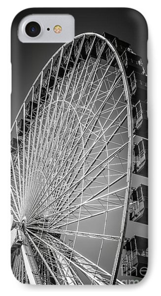 Chicago Navy Pier Ferris Wheel In Black And White IPhone Case by Paul Velgos