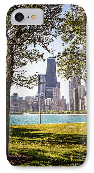 Chicago Skyline And Hancock Building Through Trees IPhone 7 Case by Paul Velgos