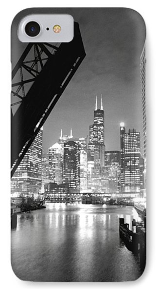 Chicago Skyline - Black And White Sears Tower IPhone Case by Horsch Gallery