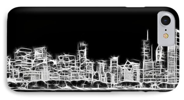 Chicago Skyline Fractal Black And White IPhone 7 Case by Adam Romanowicz