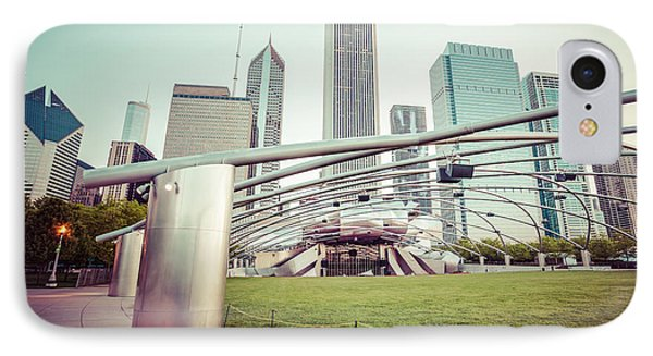 Chicago Skyline With Pritzker Pavilion Vintage Picture IPhone Case by Paul Velgos