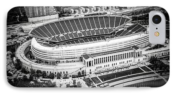 Chicago Soldier Field Aerial Picture In Black And White IPhone Case by Paul Velgos