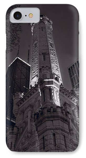 Chicago Water Tower Panorama B W Phone Case by Steve Gadomski