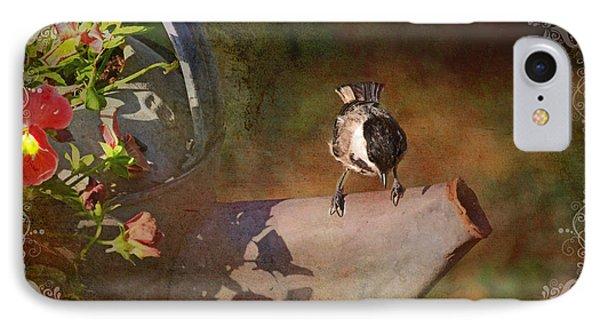 Chickadee Flower Pot Phone Case by Debbie Portwood