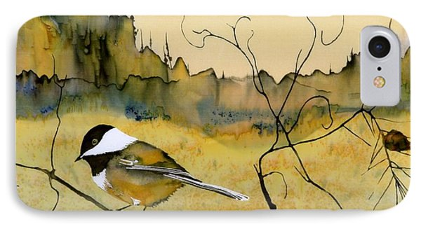 Chickadee In Dancing Pine IPhone 7 Case by Carolyn Doe