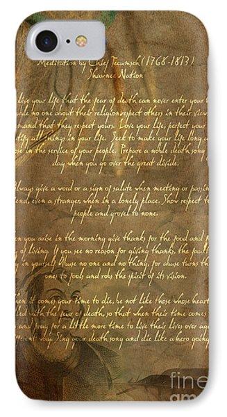 Chief Tecumseh Poem IPhone Case by Wayne Moran