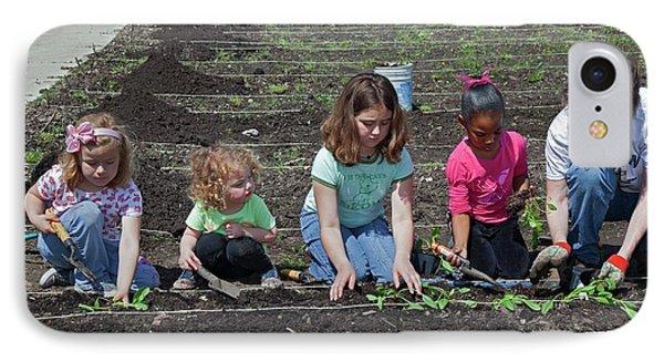 Children At Work In A Community Garden IPhone 7 Case by Jim West