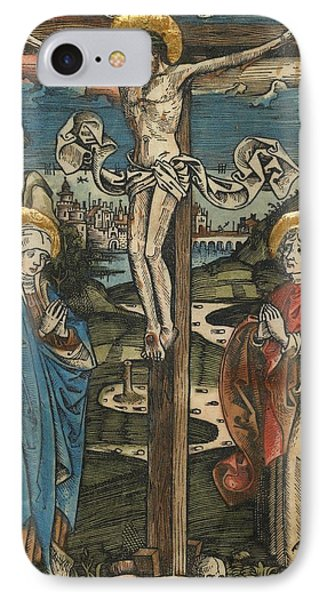 Christ On The Cross With Mary And Saint John Phone Case by German School