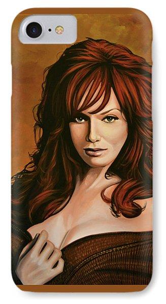 Christina Hendricks Painting IPhone Case by Paul Meijering