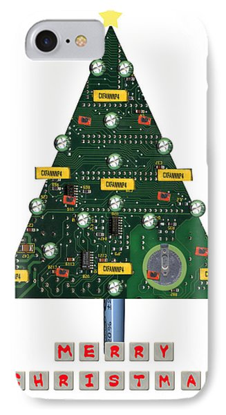 Christmas Tree Motherboard IPhone Case by Mary Helmreich