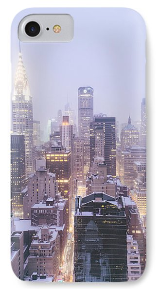 Chrysler Building And Skyscrapers Covered In Snow - New York City IPhone Case by Vivienne Gucwa