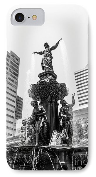 Cincinnati Fountain Black And White Picture IPhone Case by Paul Velgos