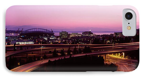 City Lit Up At Dusk, Seattle, King IPhone Case by Panoramic Images