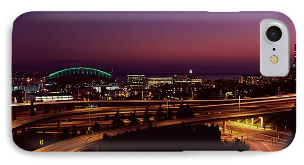 City Lit Up At Night, Seattle, King IPhone Case by Panoramic Images