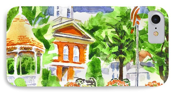 City Square In Watercolor Phone Case by Kip DeVore