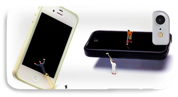 Cleaning The Iphones Little People Big Worlds Phone Case by Paul Ge