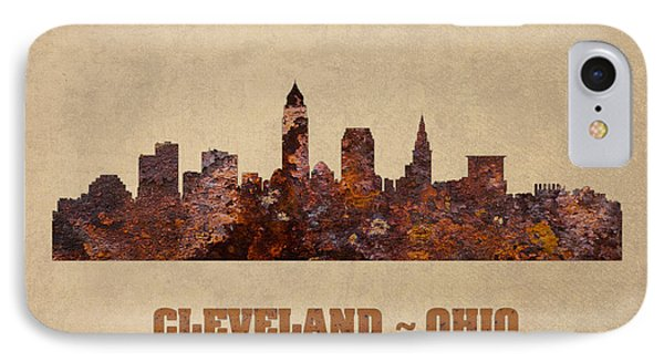 Cleveland Ohio City Skyline Rusty Metal Shape On Canvas IPhone Case by Design Turnpike