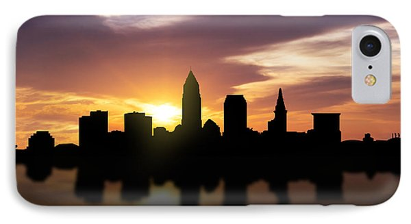 Cleveland Sunset Skyline  IPhone Case by Aged Pixel