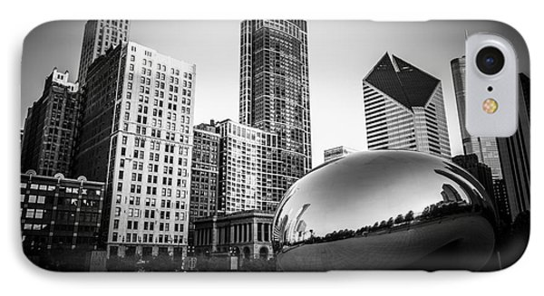 Cloud Gate Bean Chicago Skyline In Black And White Phone Case by Paul Velgos